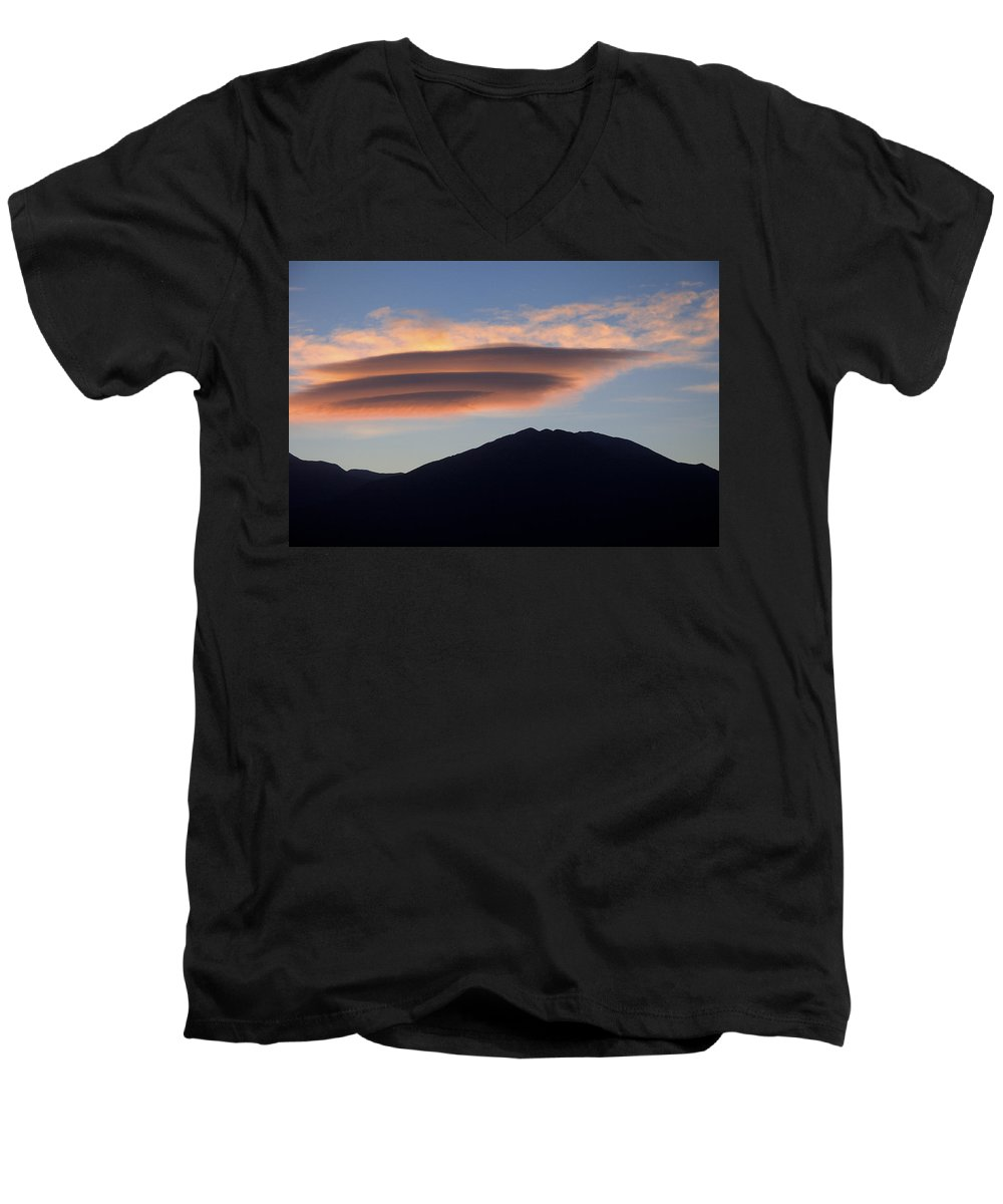 Taos Men's V-Neck T-Shirt featuring the photograph Taos Sunset by Jerry McElroy