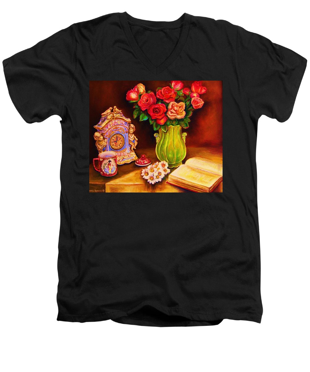 Impressionism Men's V-Neck T-Shirt featuring the painting Teacup And Roses by Carole Spandau