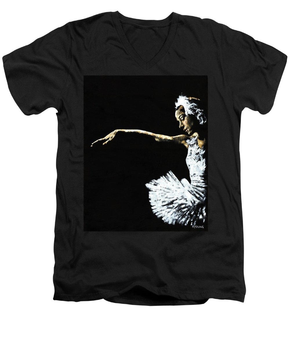 Ballet Men's V-Neck T-Shirt featuring the painting The Art Of Grace by Richard Young