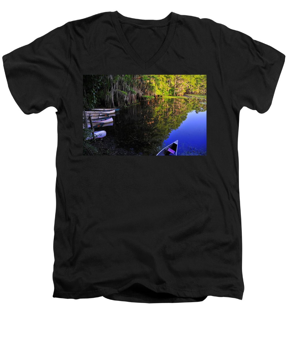 Skip Hunt Men's V-Neck T-Shirt featuring the photograph The Black Lagoon by Skip Hunt