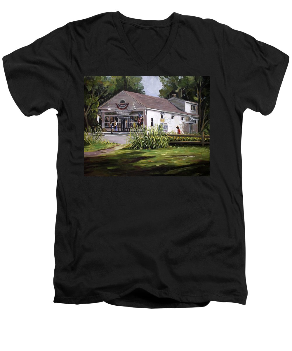 Buildings Men's V-Neck T-Shirt featuring the painting The Country Store by Nancy Griswold