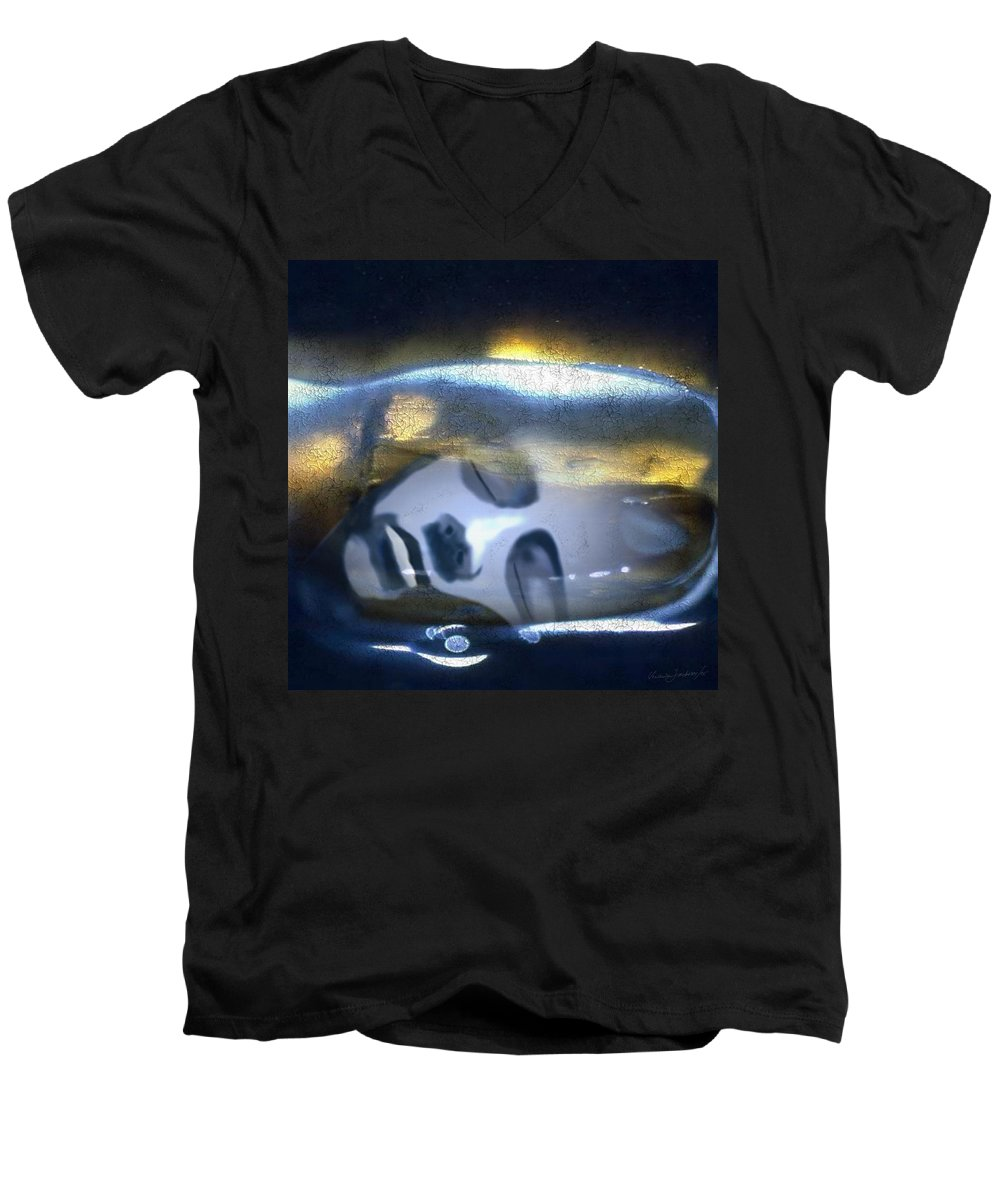 Dream Sky Universe Methaphysics Aura Afterlife Men's V-Neck T-Shirt featuring the digital art The Dream by Veronica Jackson