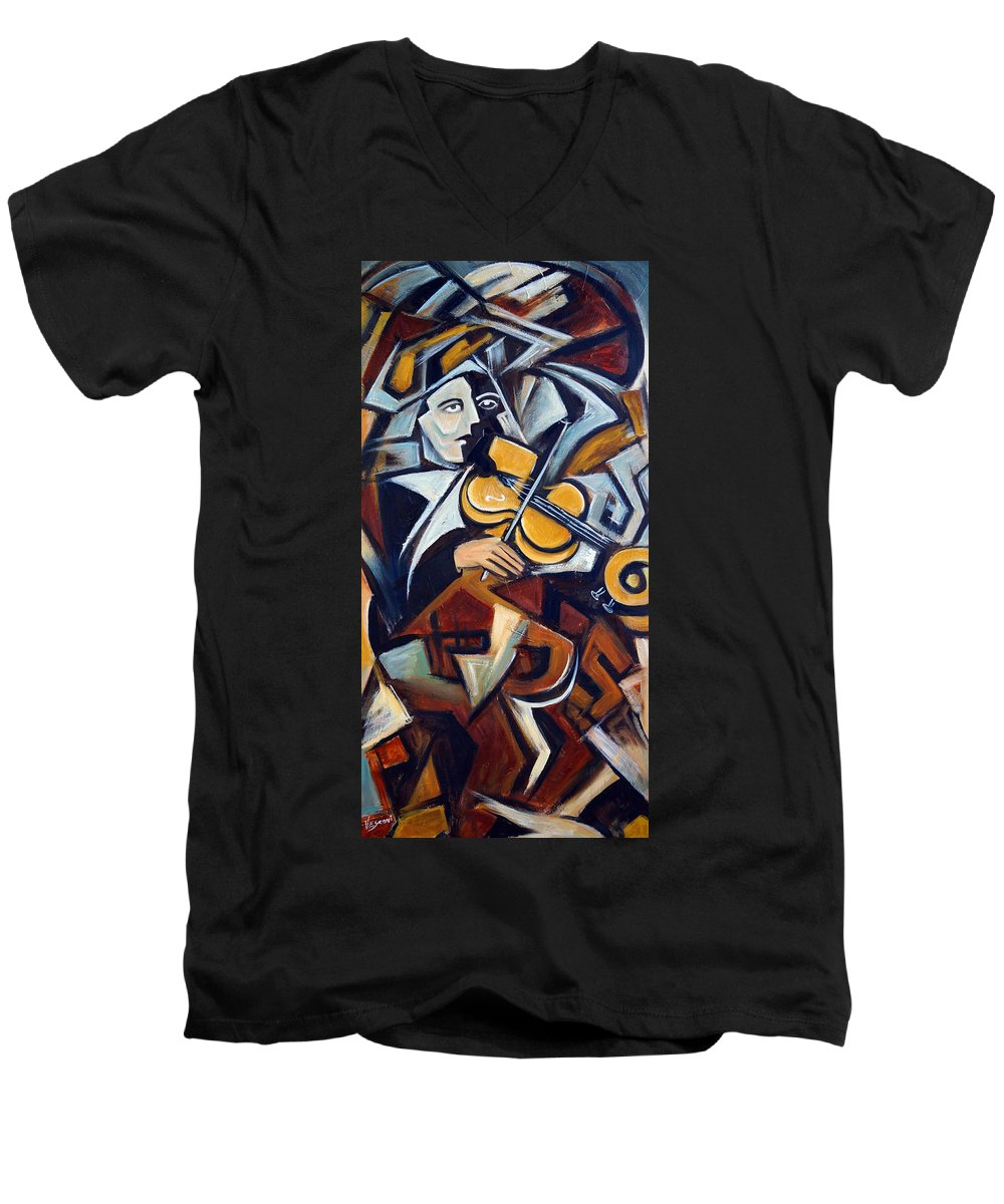 Musician Men's V-Neck T-Shirt featuring the painting The Fiddler by Valerie Vescovi