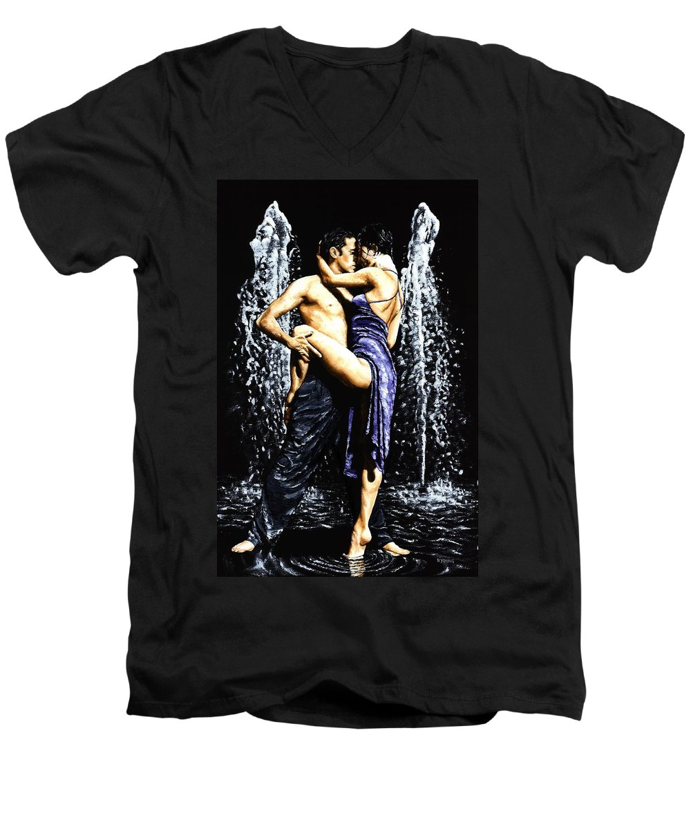 Tango Men's V-Neck T-Shirt featuring the painting The Fountain Of Tango by Richard Young