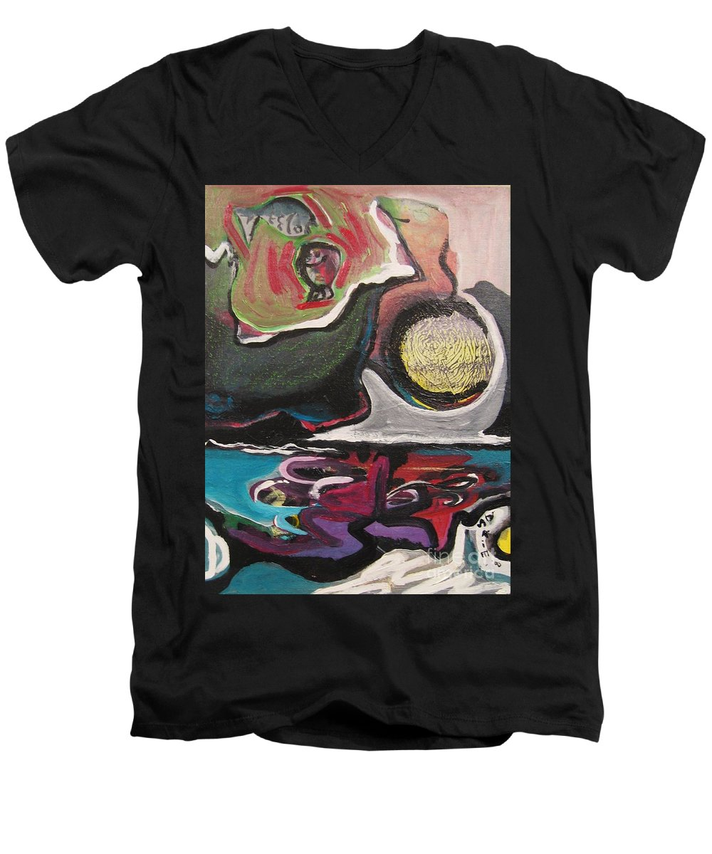 Abstract Paintings Men's V-Neck T-Shirt featuring the painting The Full Moon2 by Seon-Jeong Kim