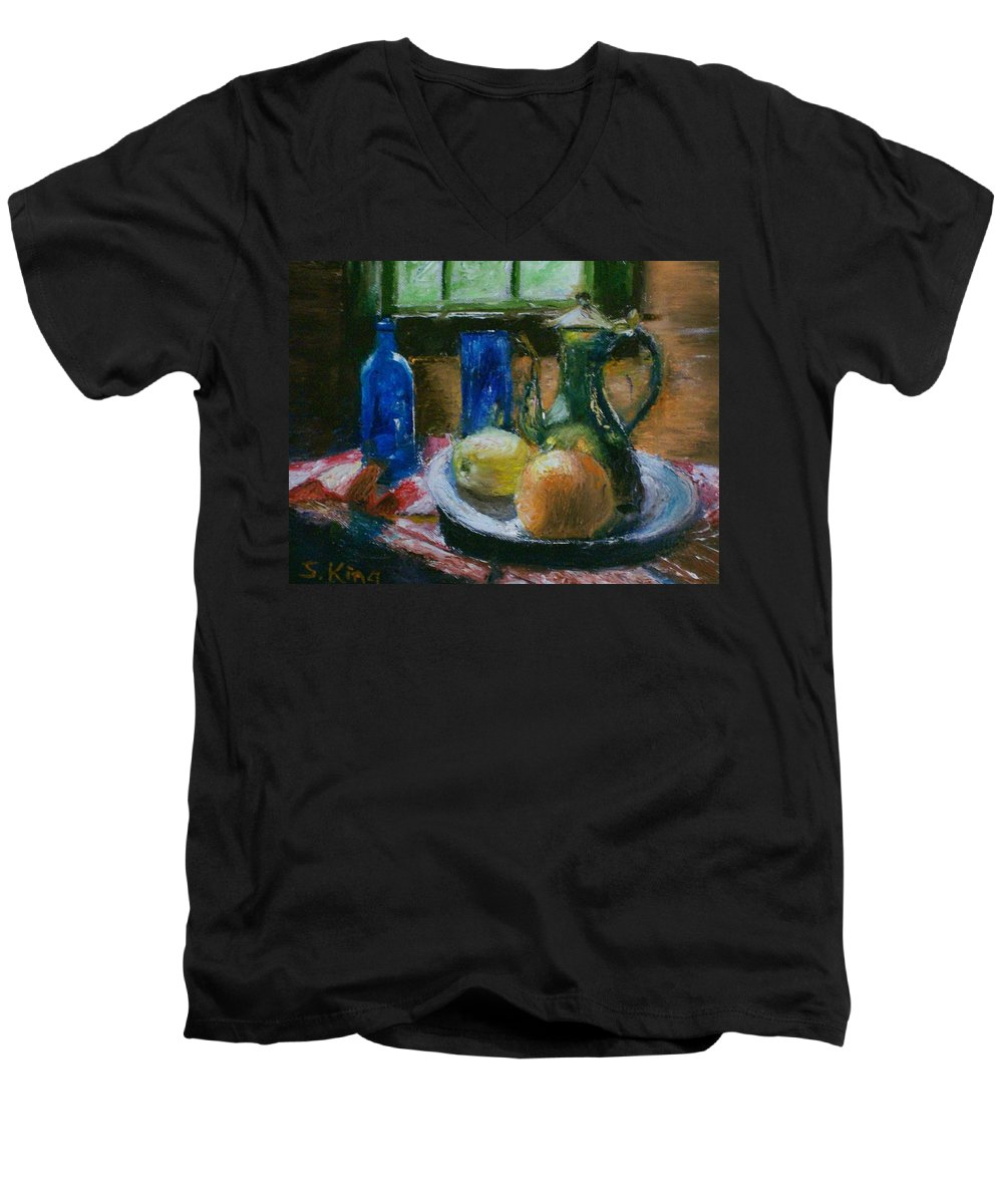 Origianl Men's V-Neck T-Shirt featuring the painting The Gathering by Stephen King