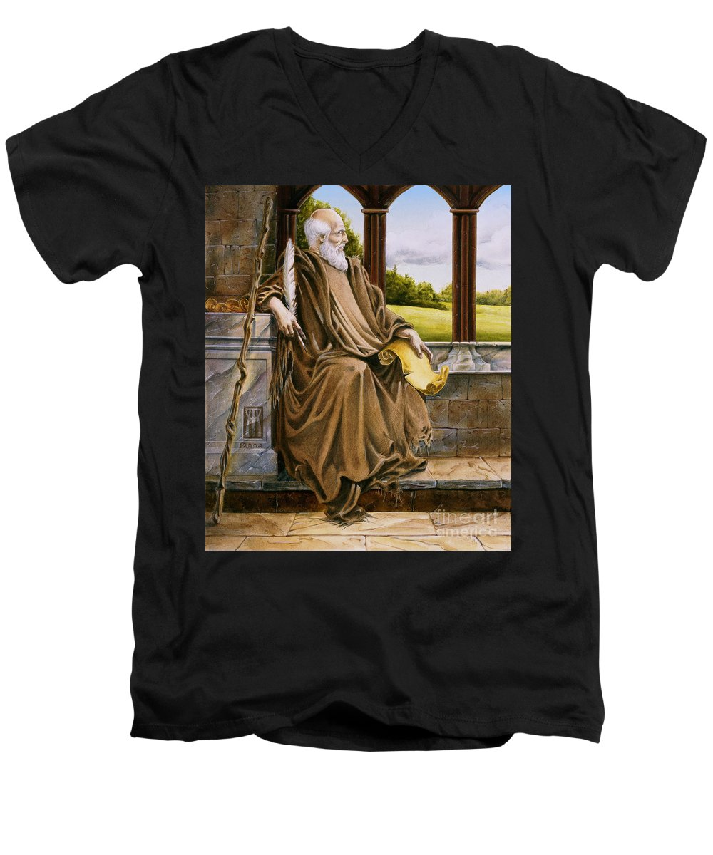 Wise Man Men's V-Neck T-Shirt featuring the painting The Hermit Nascien by Melissa A Benson