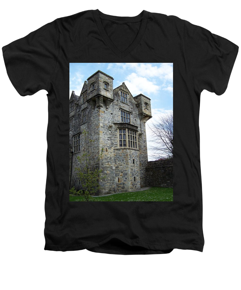 Ireland Men's V-Neck T-Shirt featuring the photograph The Keep At Donegal Castle Ireland by Teresa Mucha