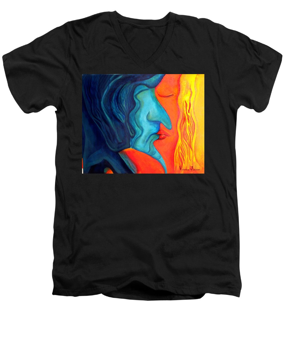 Kiss Love Passion Couple Intensity Blue Orange Fire Lust Sex Men's V-Neck T-Shirt featuring the painting The Kiss by Veronica Jackson
