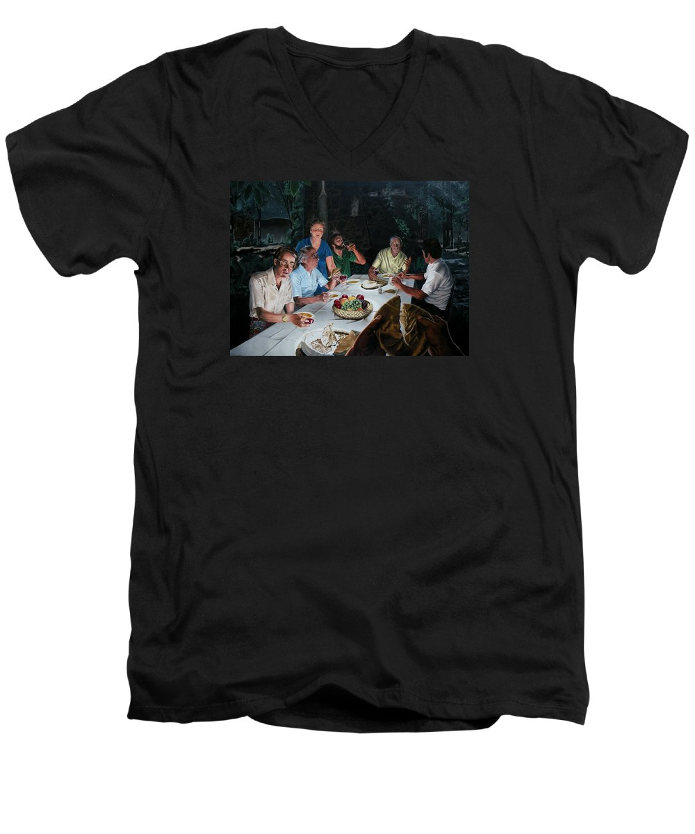Last Supper Men's V-Neck T-Shirt featuring the painting The Last Supper by Dave Martsolf