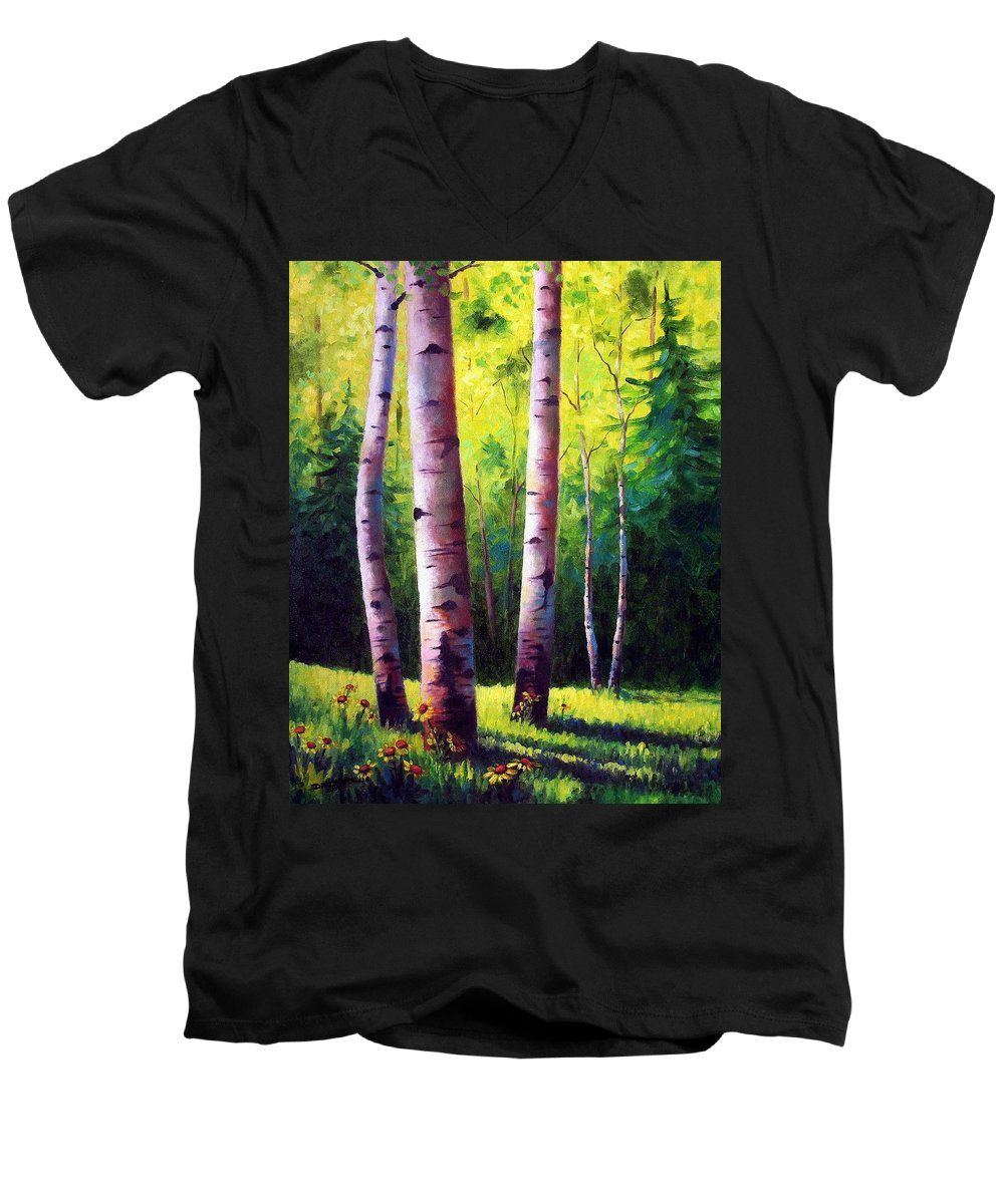 Aspen Men's V-Neck T-Shirt featuring the painting The Light Of Spring by David G Paul