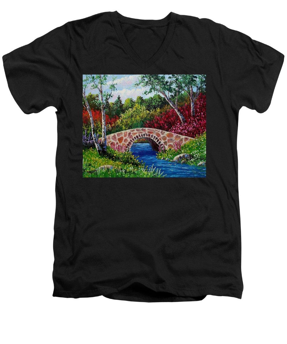 Landscape Men's V-Neck T-Shirt featuring the painting The Little Stone Bridge by David G Paul