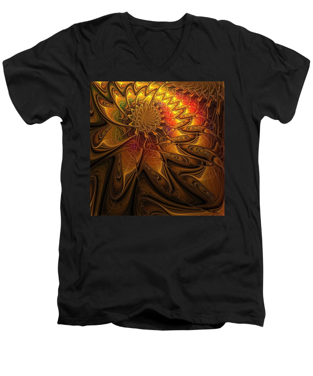 Digital Art Men's V-Neck T-Shirt featuring the digital art The Midas Touch by Amanda Moore