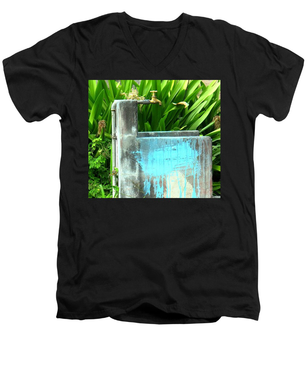Water Men's V-Neck T-Shirt featuring the photograph The Neighborhood Water Pipe by Ian MacDonald