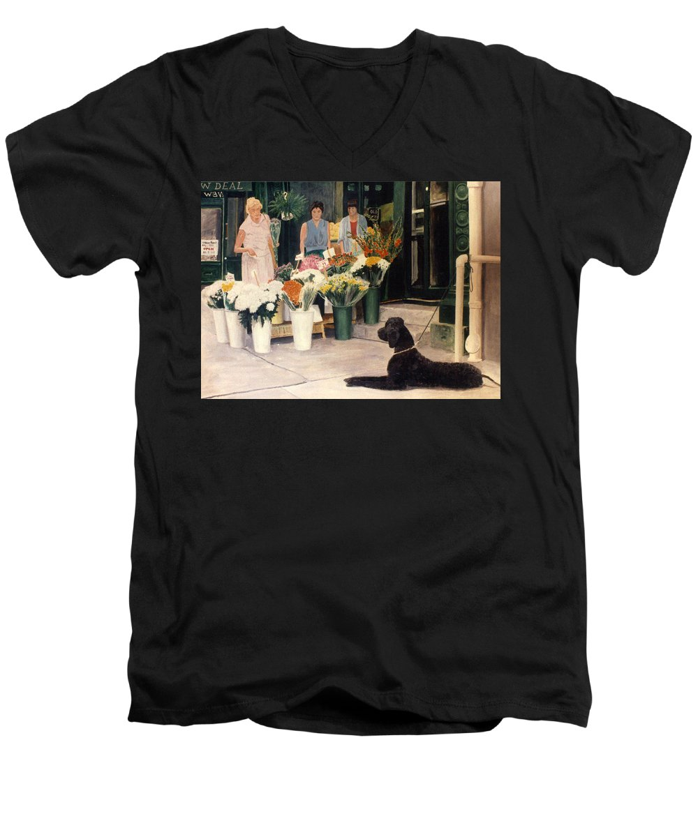 Mums Men's V-Neck T-Shirt featuring the painting The New Deal by Steve Karol