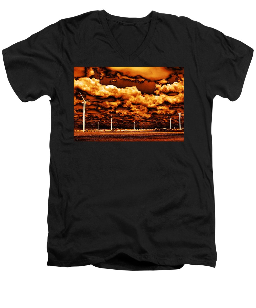 Sky Men's V-Neck T-Shirt featuring the photograph The New Trees by Ed Smith