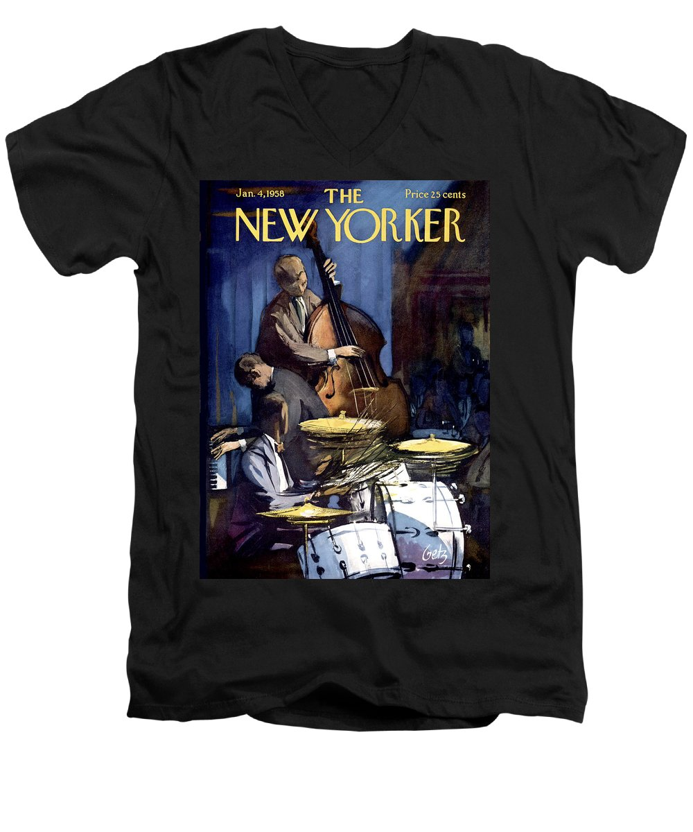 Concert Men's V-Neck T-Shirt featuring the painting The New Yorker Cover - January 4th, 1958 by Arthur Getz