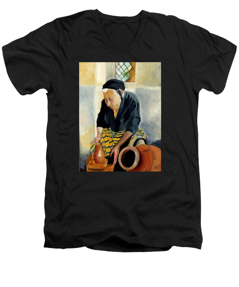 Old People Men's V-Neck T-Shirt featuring the painting The Old Potter by Jane Simpson