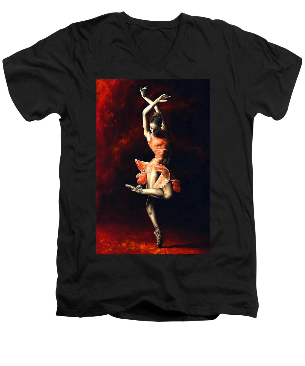 Dancer Men's V-Neck T-Shirt featuring the painting The Passion Of Dance by Richard Young