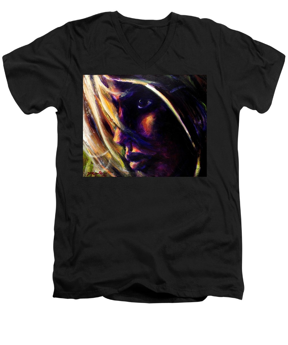 Acrylic Men's V-Neck T-Shirt featuring the painting The Past Is Gone by Jason Reinhardt
