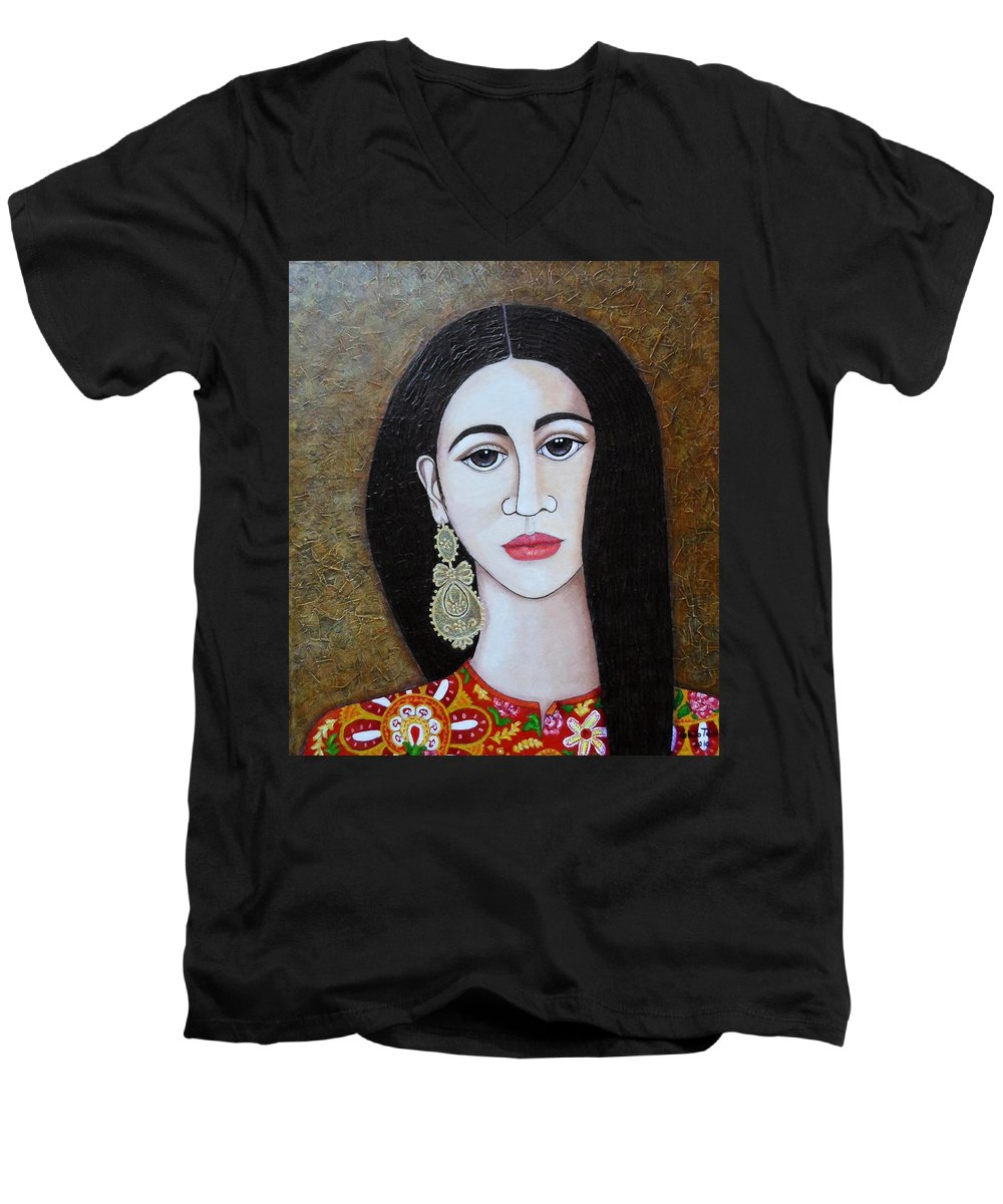 Woman Men's V-Neck T-Shirt featuring the painting The Portuguese Earring 2 by Madalena Lobao-Tello