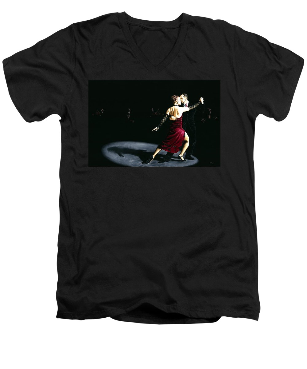 Tango Men's V-Neck T-Shirt featuring the painting The Rhythm Of Tango by Richard Young