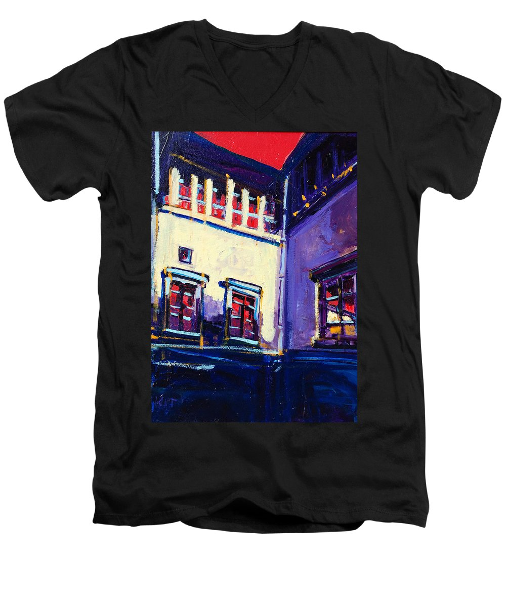School Men's V-Neck T-Shirt featuring the painting The School by Kurt Hausmann
