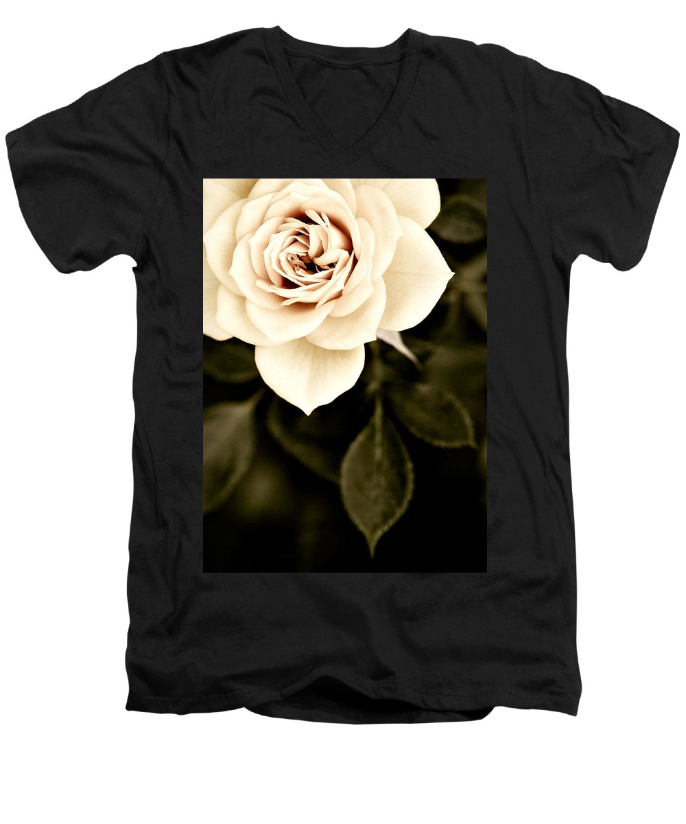 Rose Men's V-Neck T-Shirt featuring the photograph The Softest Rose by Marilyn Hunt