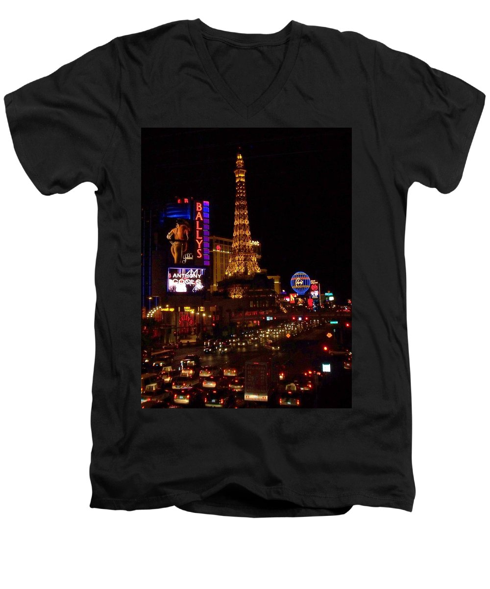Vegas Men's V-Neck T-Shirt featuring the photograph The Strip At Night 2 by Anita Burgermeister