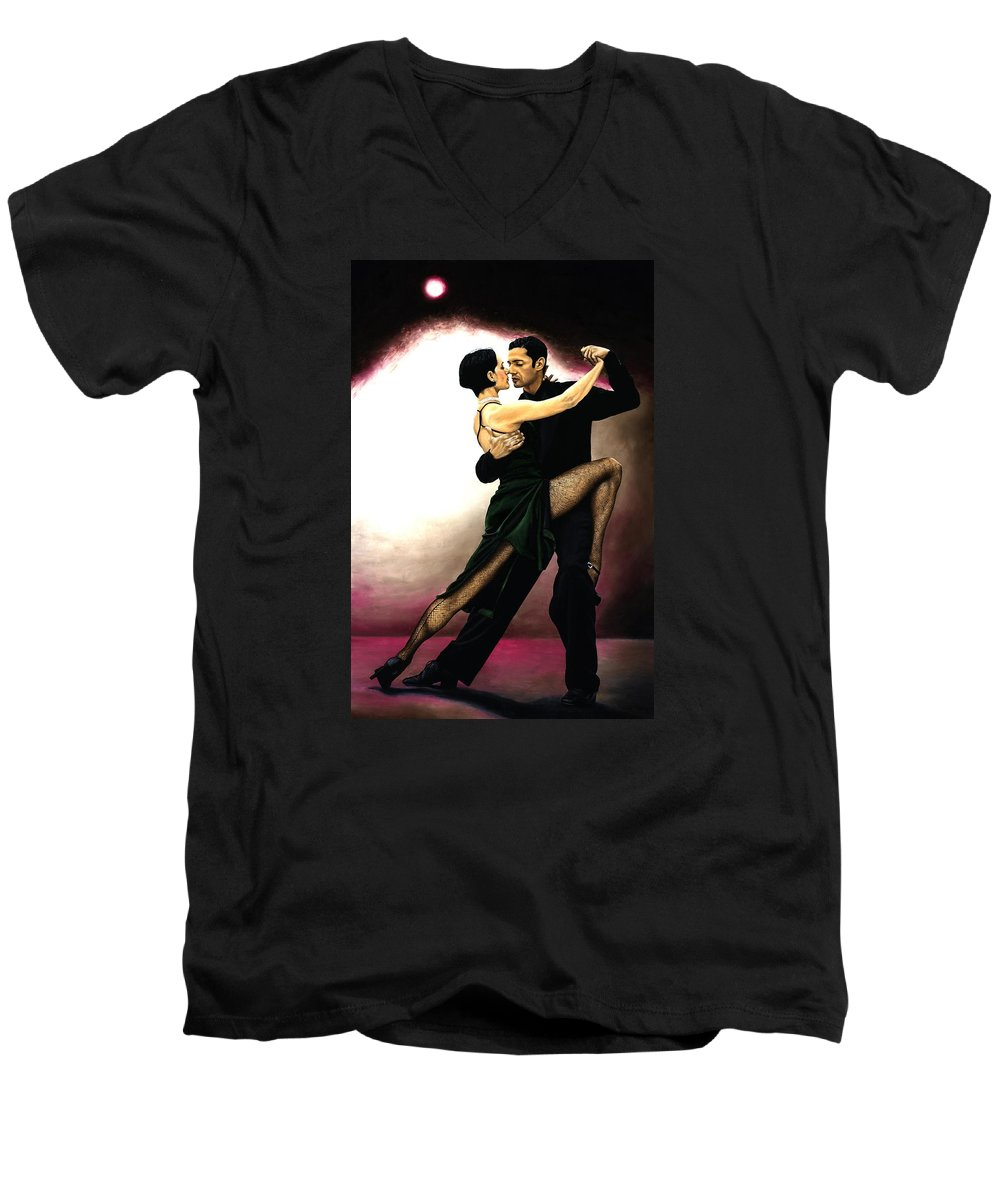 Tango Men's V-Neck T-Shirt featuring the painting The Temptation Of Tango by Richard Young