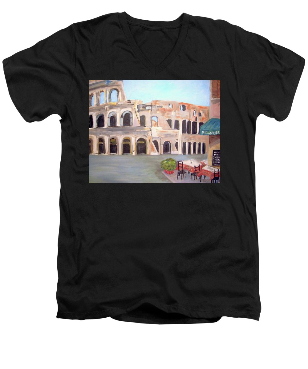 Cityscape Men's V-Neck T-Shirt featuring the painting The View Of The Coliseum In Rome by Teresa Dominici