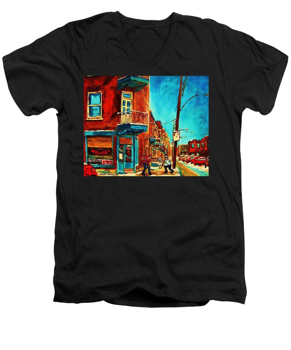 Wilenskys Doorway Men's V-Neck T-Shirt featuring the painting The Wilensky Doorway by Carole Spandau