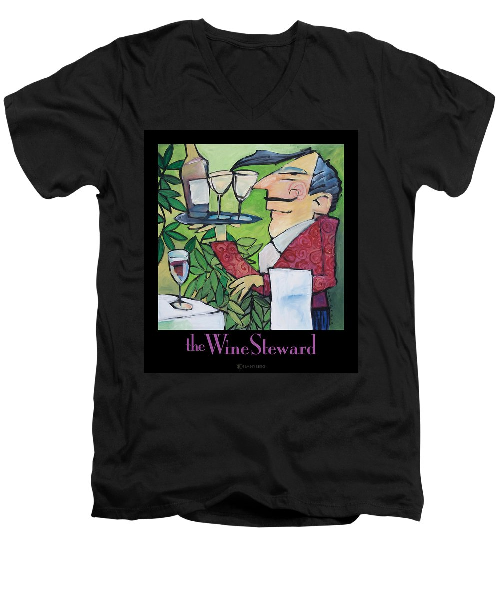 Wine Men's V-Neck T-Shirt featuring the painting The Wine Steward - Poster by Tim Nyberg