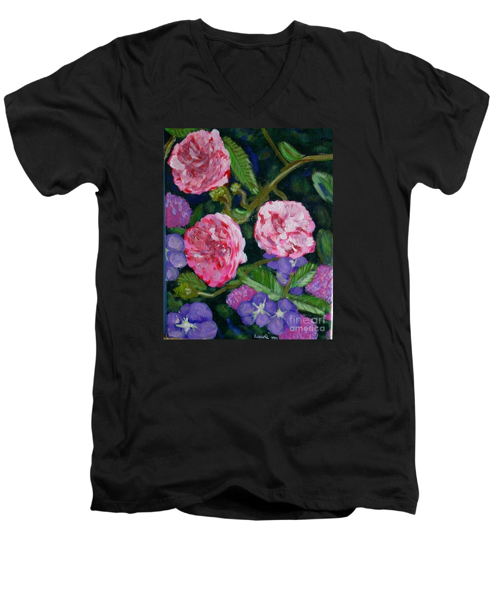 Roses Men's V-Neck T-Shirt featuring the painting Three For The Show by Laurie Morgan