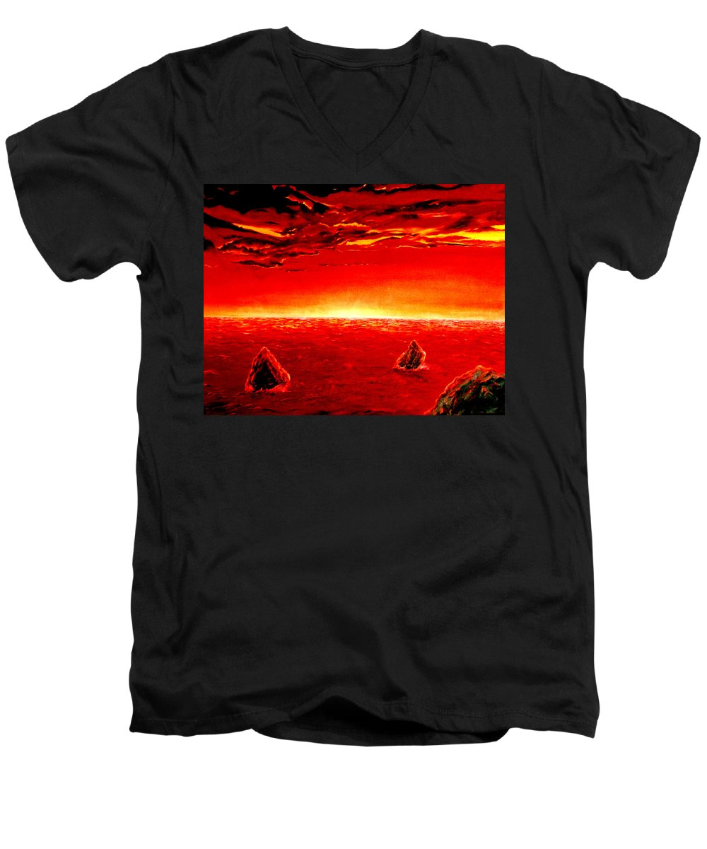 Seascape Men's V-Neck T-Shirt featuring the painting Three Rocks In Sunset by Mark Cawood