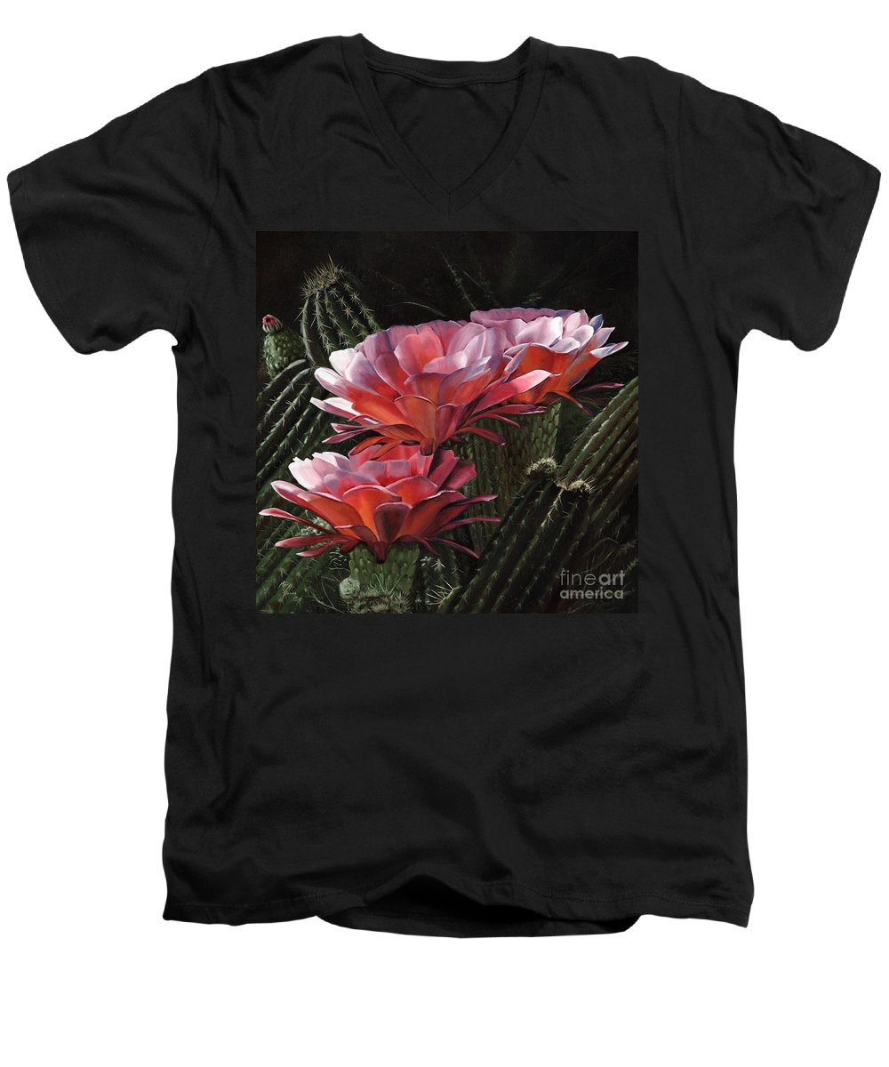 Art Men's V-Neck T-Shirt featuring the painting Three Sisters by Mary Rogers