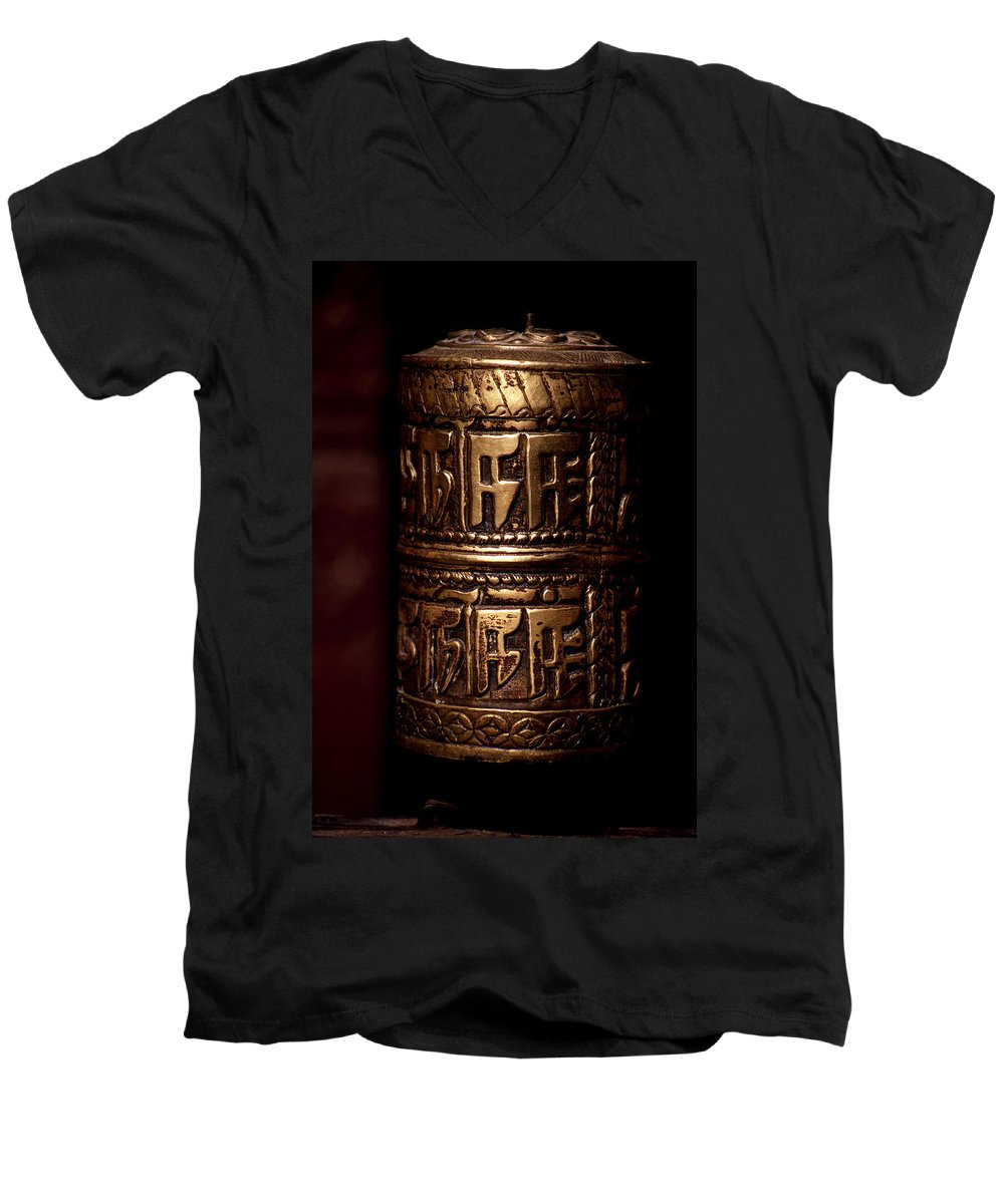 Prayer Wheel Men's V-Neck T-Shirt featuring the photograph Tibetan Prayer Wheel by Patrick Klauss