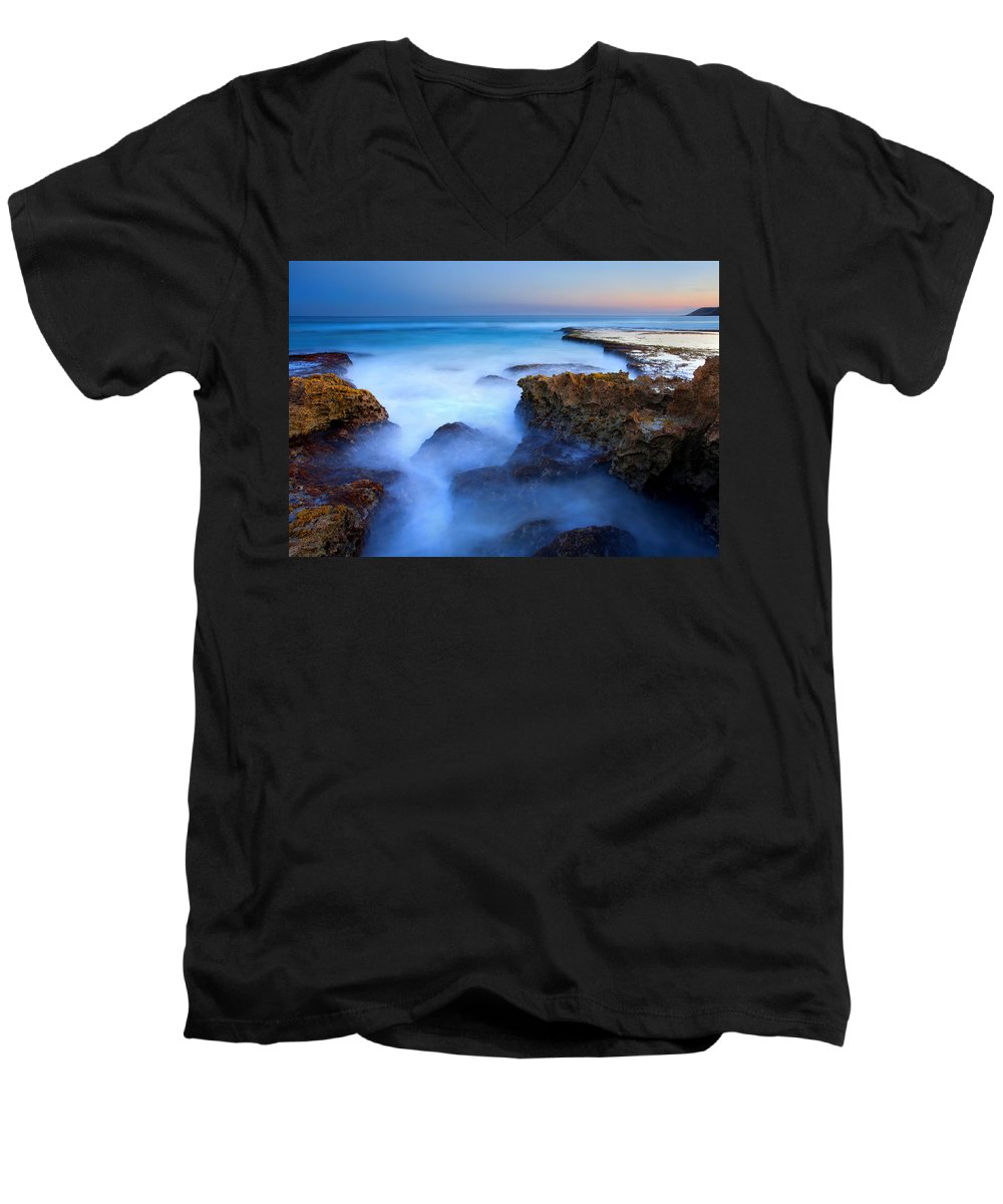 Pennington Bay Men's V-Neck T-Shirt featuring the photograph Tidal Bowl Boil by Mike Dawson