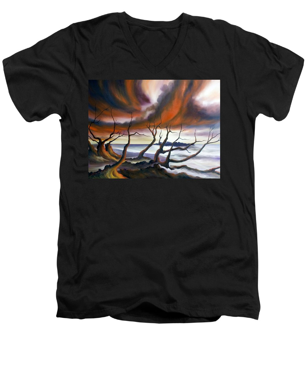 Marsh Men's V-Neck T-Shirt featuring the painting Tideland by James Christopher Hill