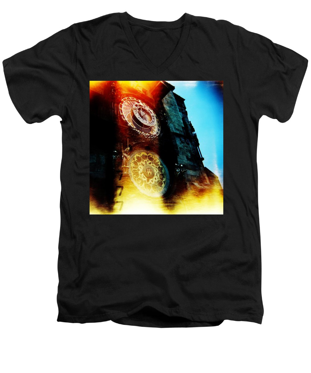 Clock Time Holga Color Photograph Praha Men's V-Neck T-Shirt featuring the photograph Time Is Burning by Olivier De Rycke