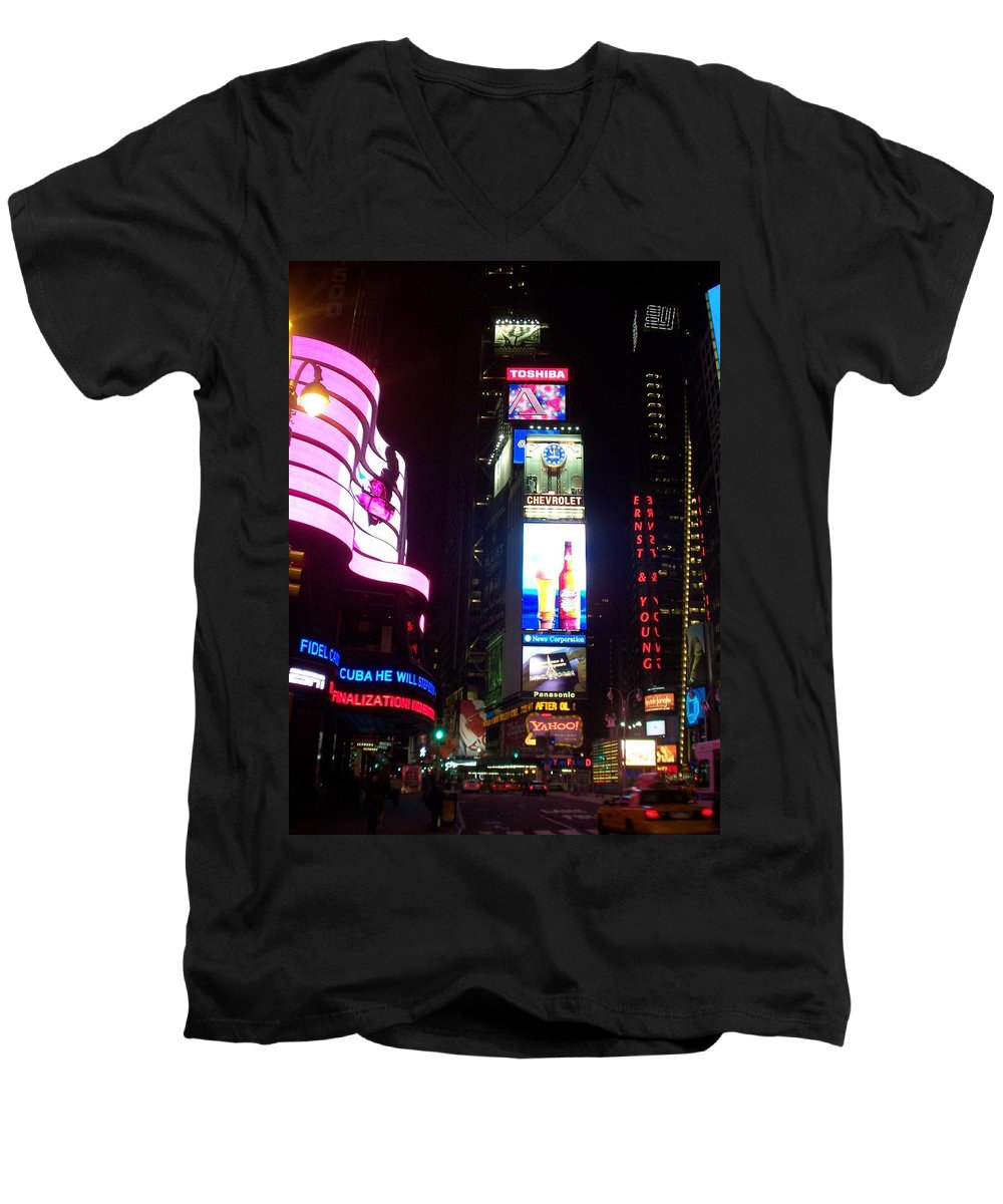 Times Square Men's V-Neck T-Shirt featuring the photograph Times Square 1 by Anita Burgermeister