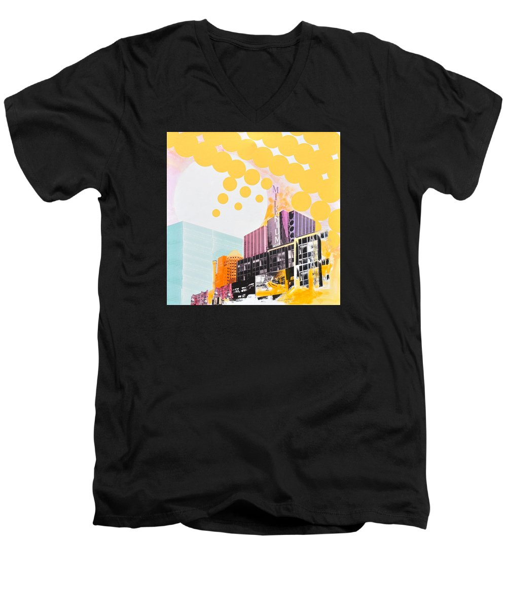 Ny Men's V-Neck T-Shirt featuring the painting Times Square Milenium Hotel by Jean Pierre Rousselet