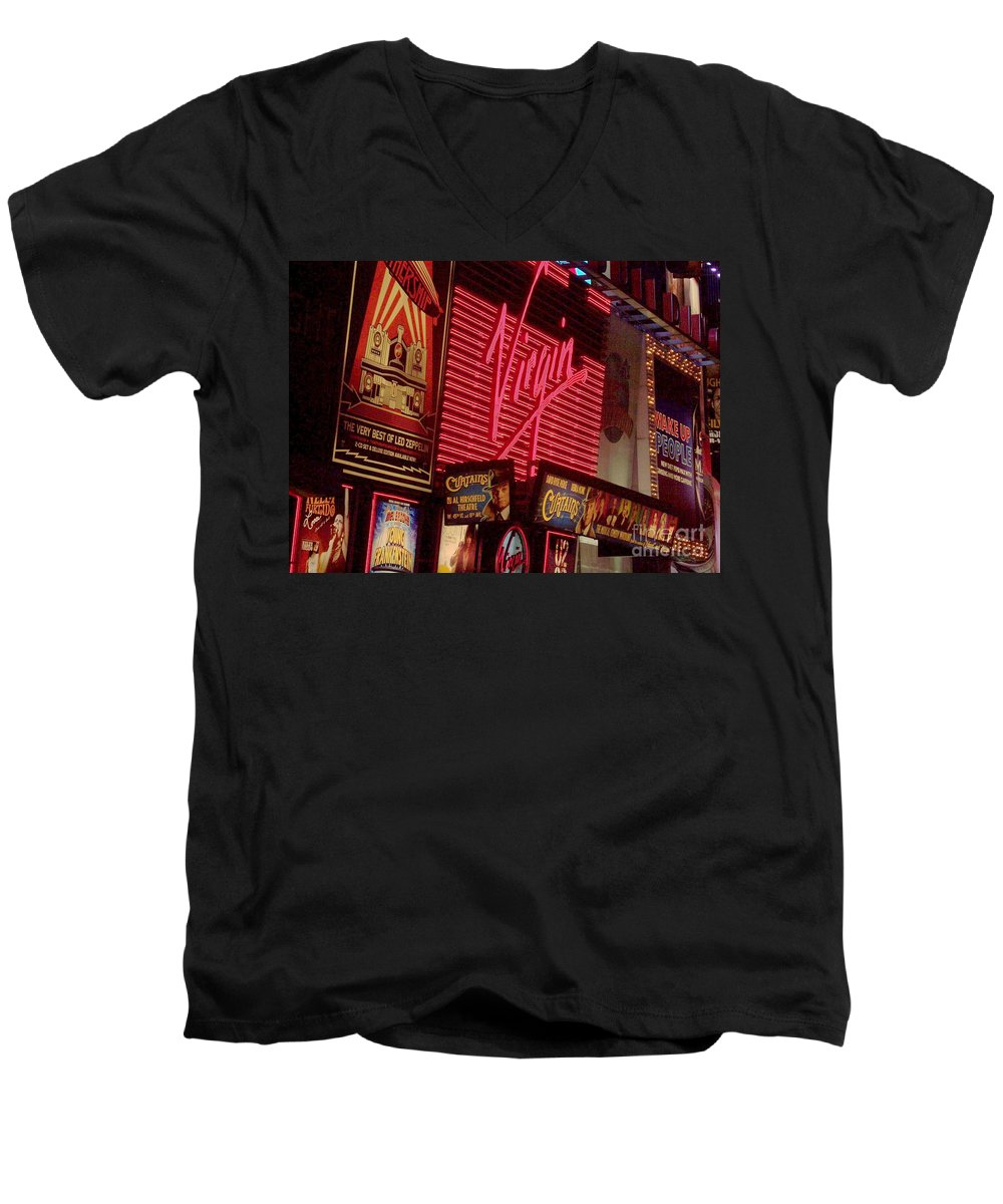 Times Square Men's V-Neck T-Shirt featuring the photograph Times Square Night by Debbi Granruth