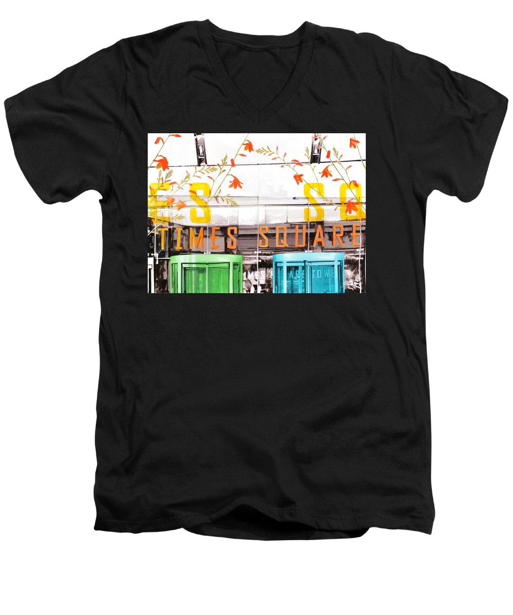 Ny Men's V-Neck T-Shirt featuring the painting Times Square Tower by Jean Pierre Rousselet
