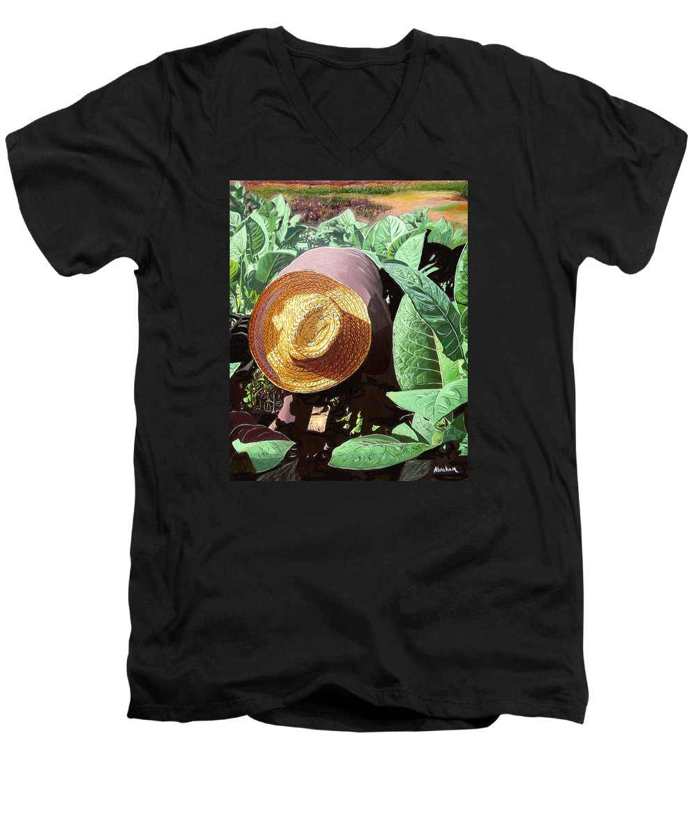 Tobacco Men's V-Neck T-Shirt featuring the painting Tobacco Picker by Jose Manuel Abraham