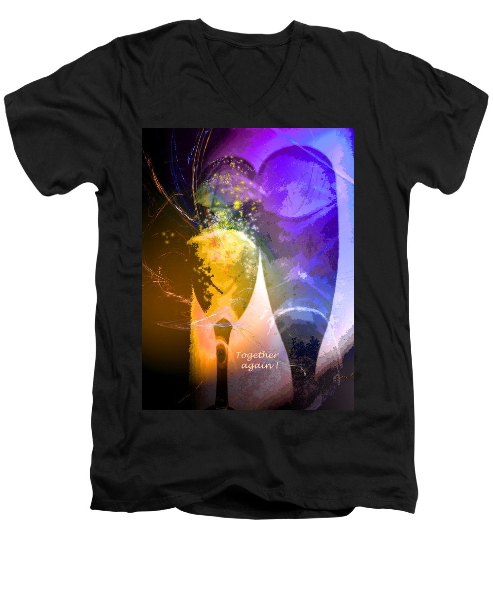 Fantasy Men's V-Neck T-Shirt featuring the photograph Together Again by Miki De Goodaboom