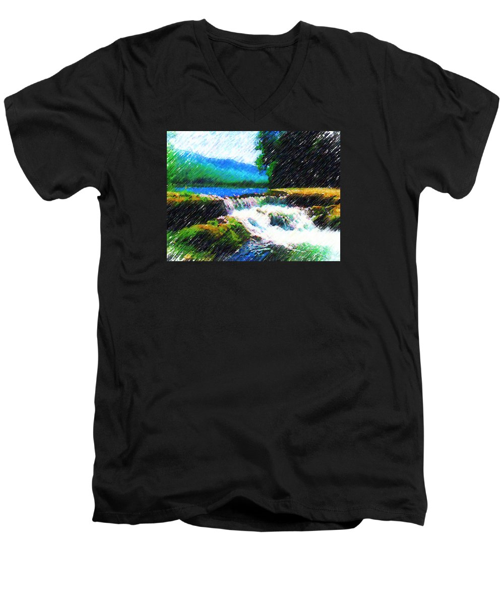 Landscape Men's V-Neck T-Shirt featuring the photograph Tolhuaca by Madalena Lobao-Tello