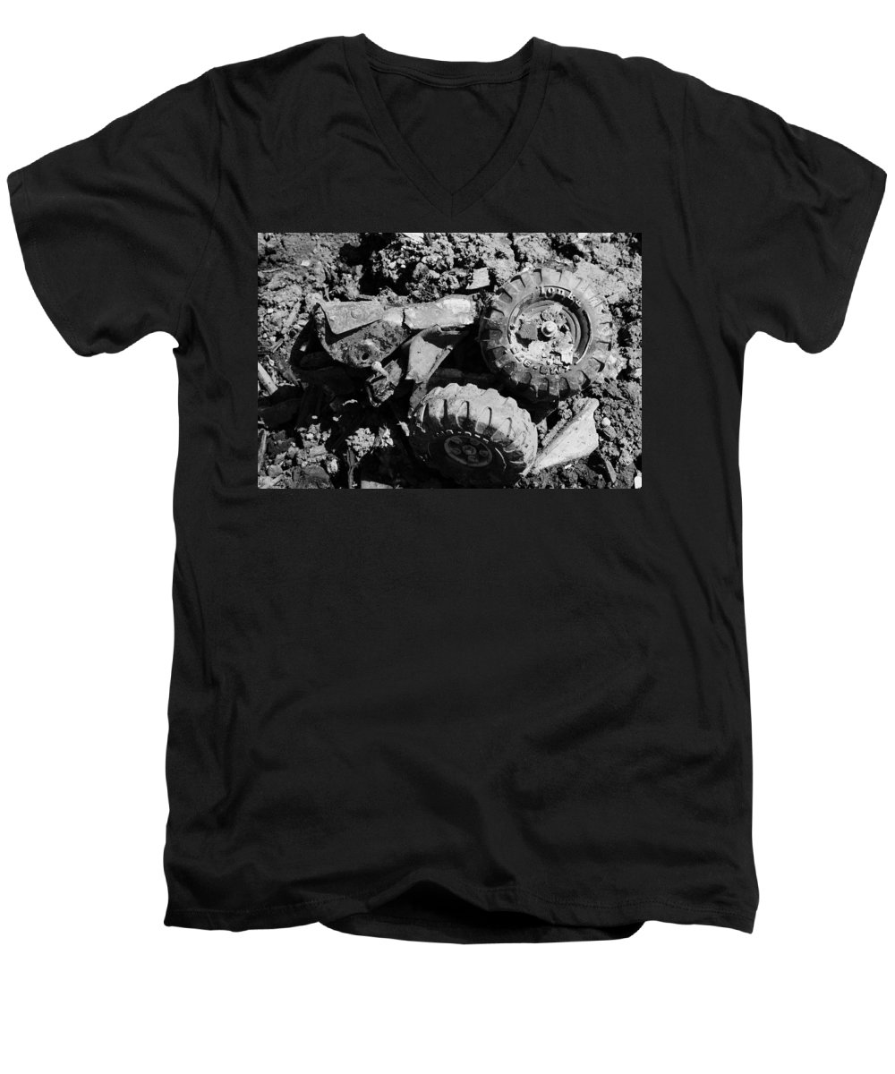 Toy Men's V-Neck T-Shirt featuring the photograph Tossed Toy by Angus Hooper Iii