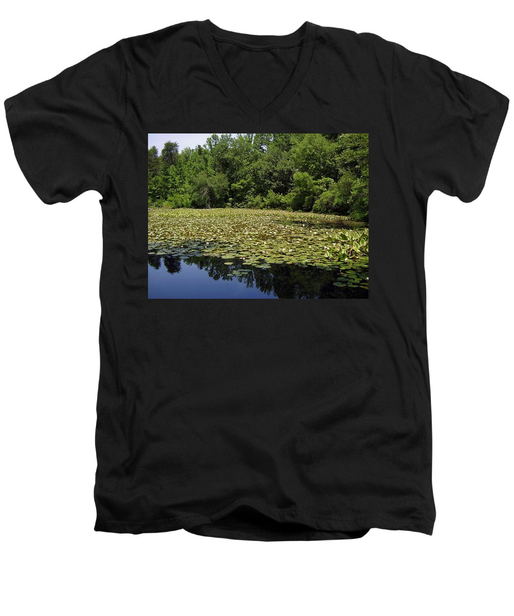 Tranquility Men's V-Neck T-Shirt featuring the photograph Tranquility by Flavia Westerwelle