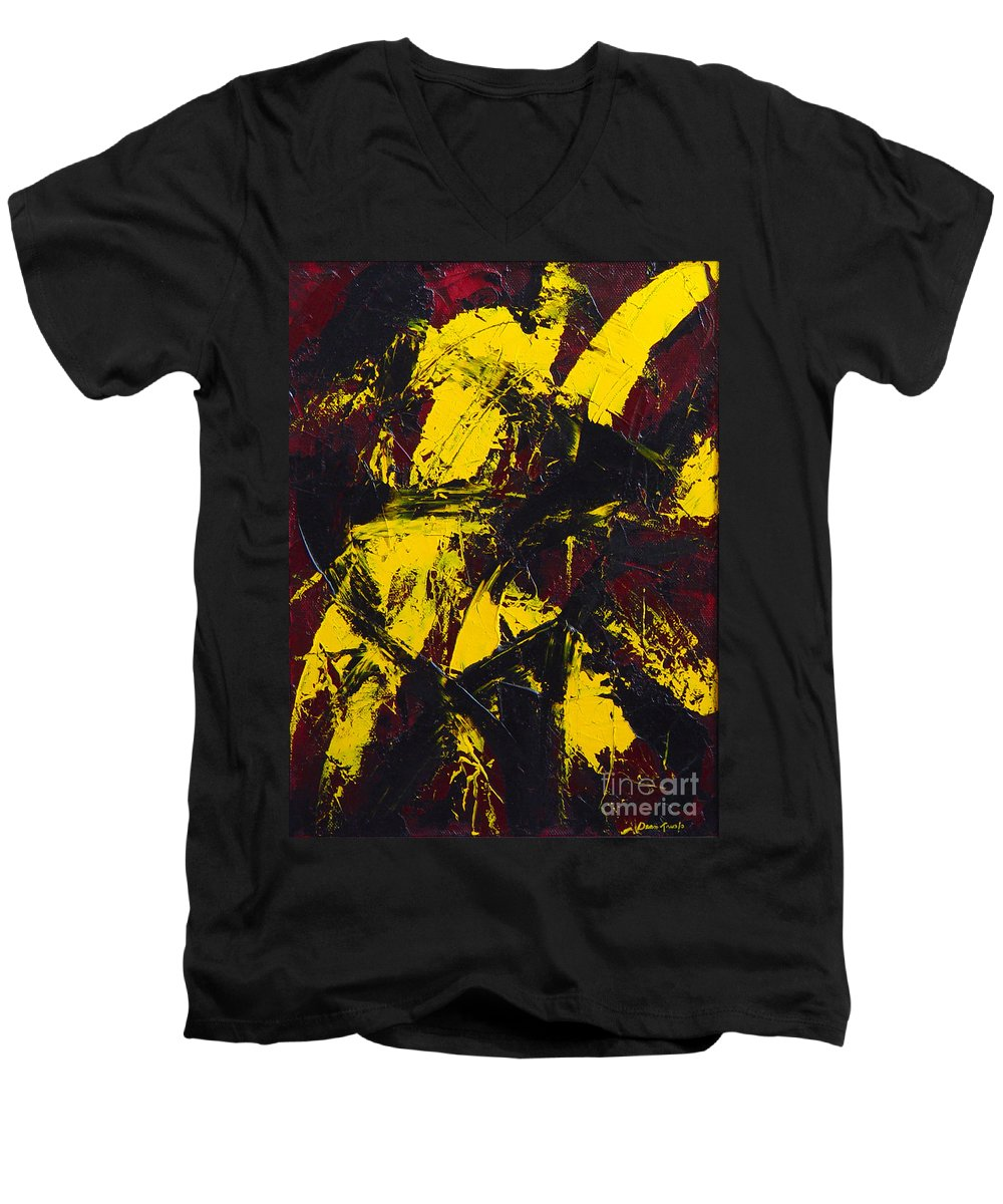Abstract Men's V-Neck T-Shirt featuring the painting Transitions With Yelllow And Black by Dean Triolo